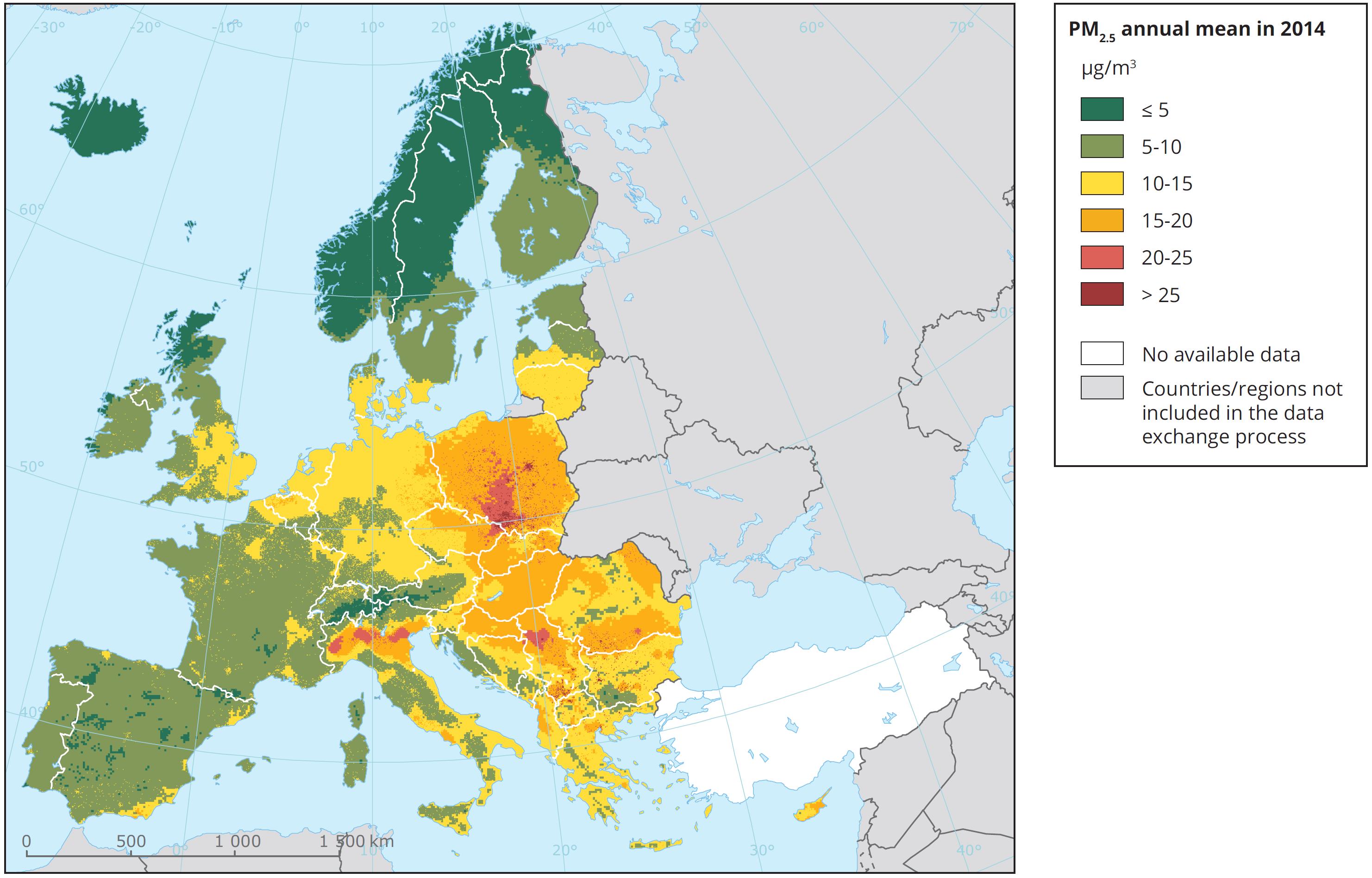 Średnie stężenie pyłu PM2.5 w Europie w roku 2014; źródło: EEA, Air quality in Europe - 2017 report
