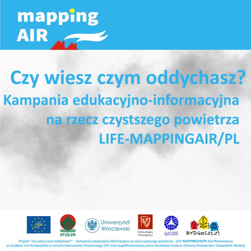 Ulotka informująca o Projekcie LIFE-MAPPINGAIR/PL