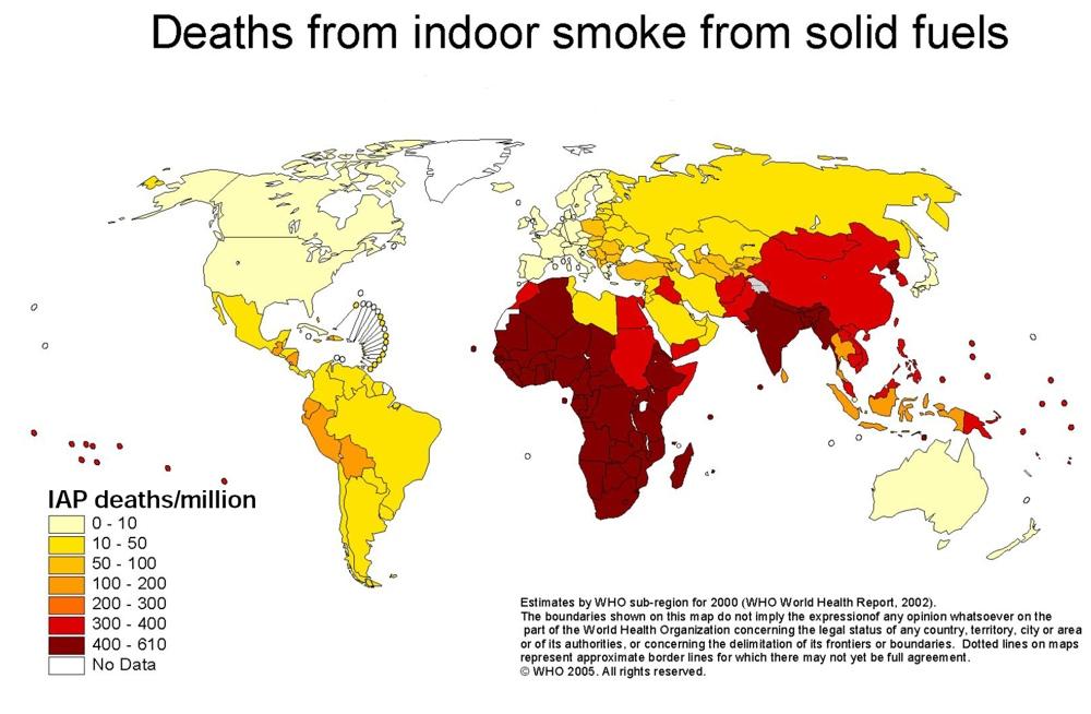 Liczba zgonów w poszczególnych krajach świata, wywołanych wdychaniem dymu z domowych palenisk