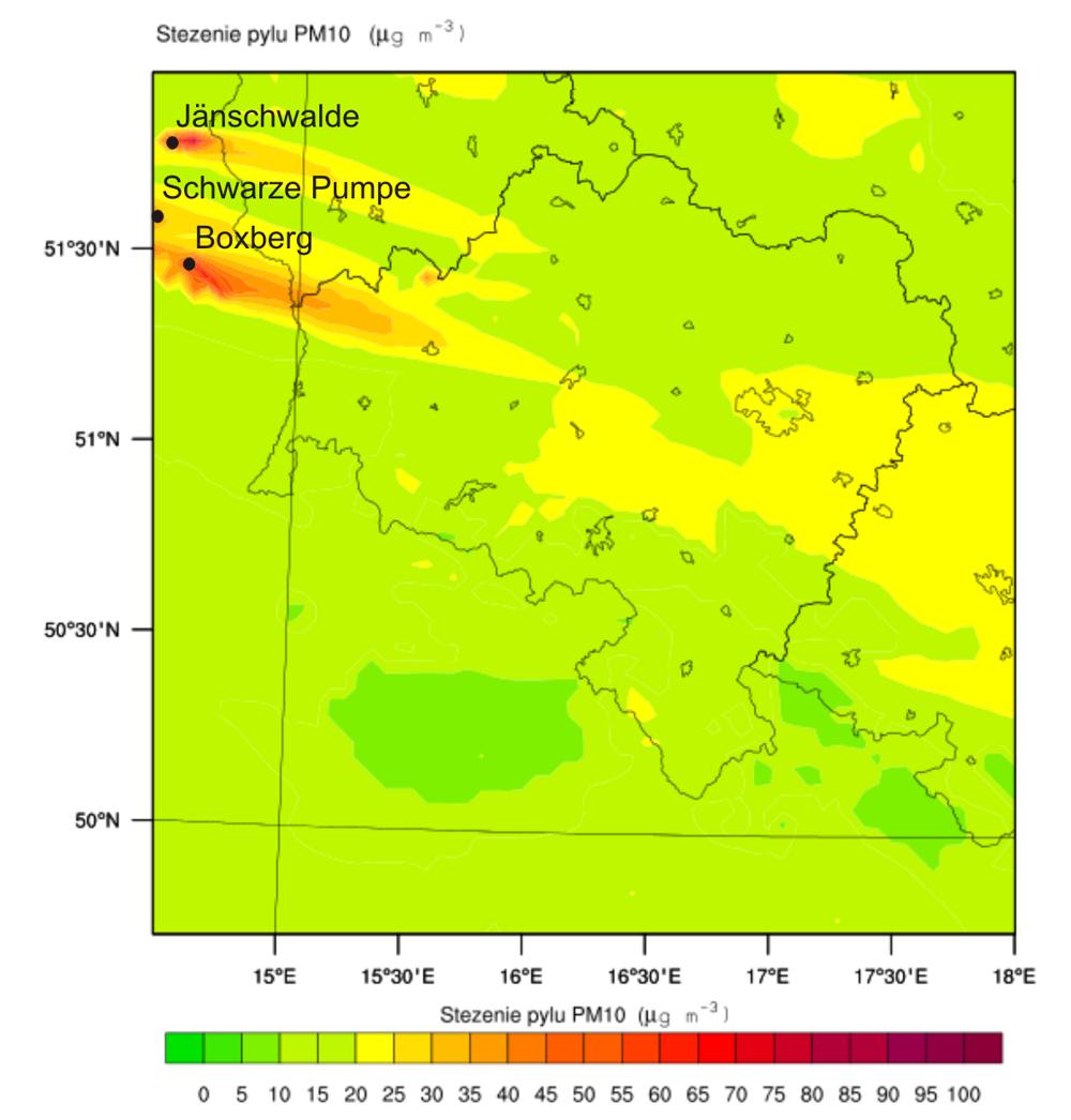 Rozprzestrzenianie pyłu PM10 nad Dolnym Śląskiem, wyraźnie widoczne źródła z nadgranicznych niemieckich elektrowni - wyniki modelowania dla 23.06.2014