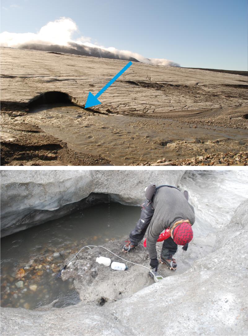 Pobór próbek wody subglacjalnej do analizy chemicznej na przedpolu lodowca Werenskiolda, SW Spitsbergen (fot. P. Muskała)