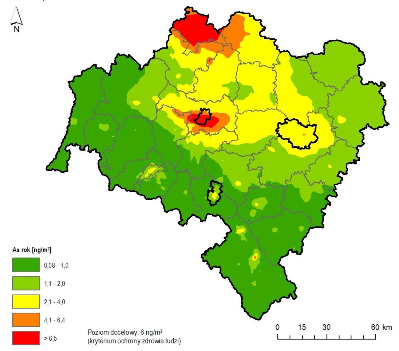 Rozkład stężeń średniorocznych arsenu w pyle zawieszonym PM10 na terenie województwa dolnośląskiego na podstawie wyników modelowania jakości powietrza za 2017 rok