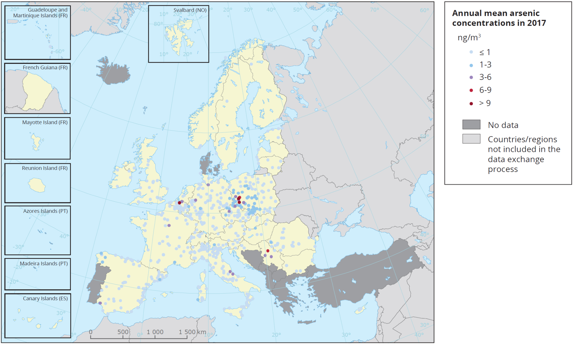 Przestrzenne zróżnicowanie średniorocznych stężeń arsenu w pyle PM10, w Europie, w roku 2017