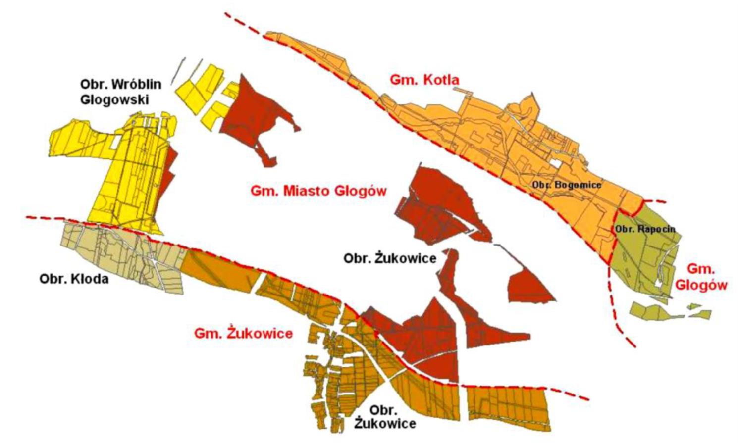 Mapa zasięgu terytorialnego strefy ochronnej Huty Miedzi Głogów
