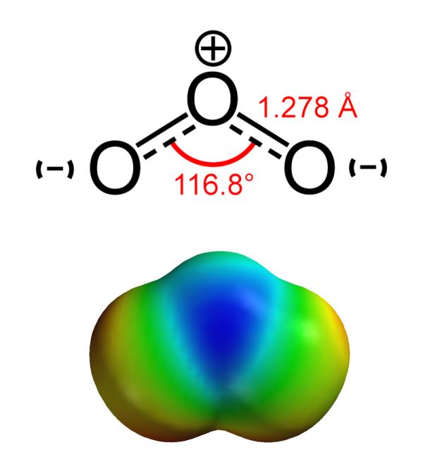 Schemat cząsteczki ozonu i rozkład ładunku w cząsteczce