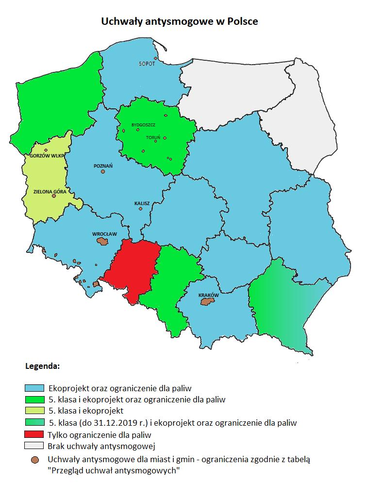 Uchwały antysmogowe w Polsce i ich ograniczenia - stan na wrzesień 2021
