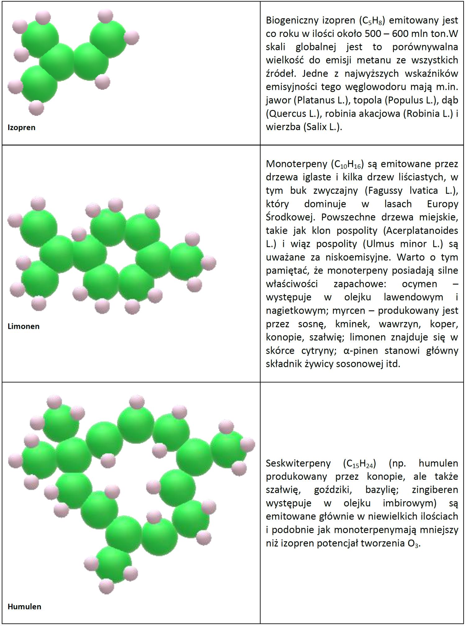 Schemat i opis wybranych biogennych LZO: izoprenów, monoterpenów i sekwiterpenów