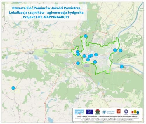 Lokalizacja czujników otwartej sieci pomiarów jakości powietrza Projektu LIFE-MAPPINGAIR/PL na obszarze aglomeracji bydgoskiej